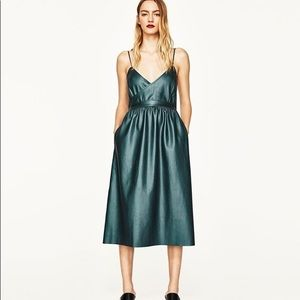 Zara emerald leather dress
